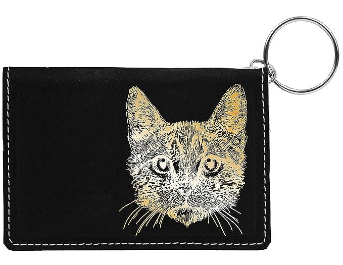 Amazon.com: Gato atigrado láser grabado llavero de piel ...