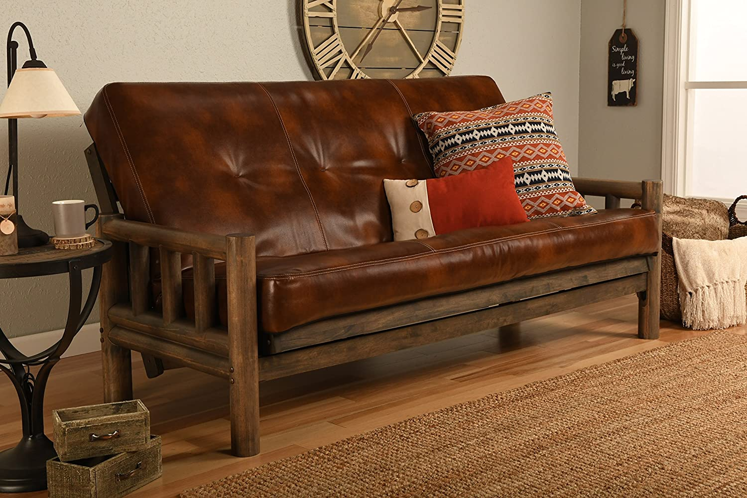 Jerry Sales Up North Futon Lodge Frame and Mattress Full Size Sofa Bed Leather Havana Rustic