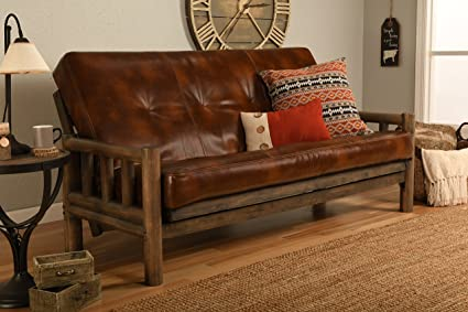 Jerry Sales Up North Futon Lodge Frame and Mattress Full Size Sofa Bed (Leather Havana Rustic)