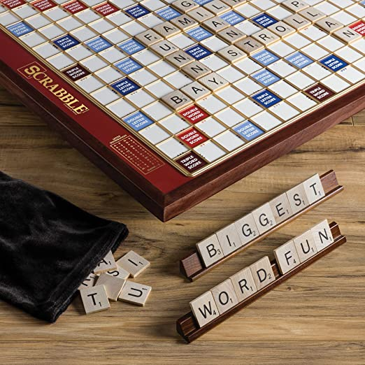 Amazon.com: Scrabble Giant Deluxe Edition With Rotating Wooden Board: Toys  U0026 Games