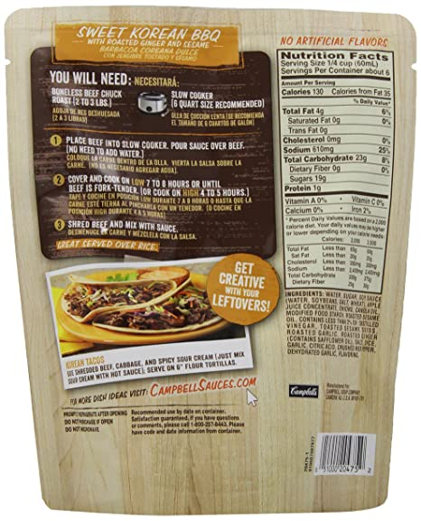 Amazon.com : Campbells Slow Cooker Sauces, Sweet Korean BBQ, 13 Ounce : Grocery & Gourmet Food