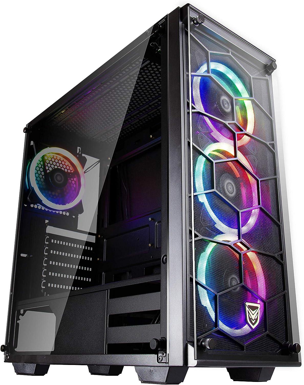 Nfortec Draco V2 Torre Gaming Negra RGB Diseño Full View (Cristal Templado) con 4 Ventiladores RGB y Controlador Inalámbrico: Amazon.es: Informática