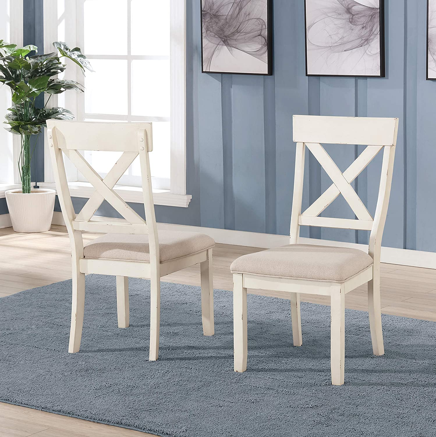 Roundhill Furniture Prato Wood Cross Back Upholstered Dining Chairs, Set of 2, Antique White