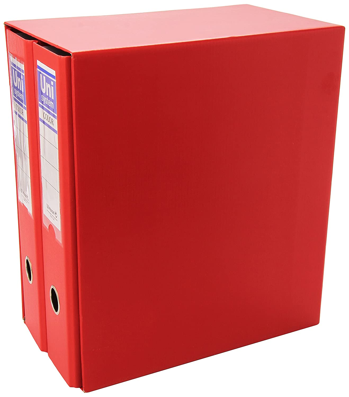 Unisystem P4004303 - Caja de 2 archivadores, formato A4, color rojo ...