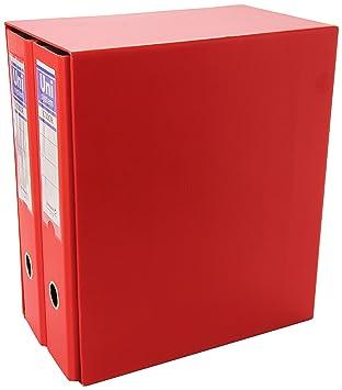 Unisystem P4004303 - Caja de 2 archivadores, formato A4, color rojo