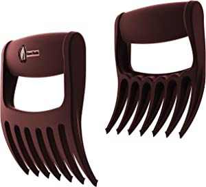 Meat Claws - Talon TIP Pulled Pork SHREDDERS - Extra 7th BBQ Fork Shreds Handles & Carves for Grill Smoker or Slow Crock Pot Cooker Handler - Barbecue Grilling & Smoking Accessories Set (Merlot)