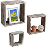 Set of 3 Brown Torched Wood Finish Wall Mounted Square Floating Shelf Display Shadow Boxes / Shelves - MyGift®