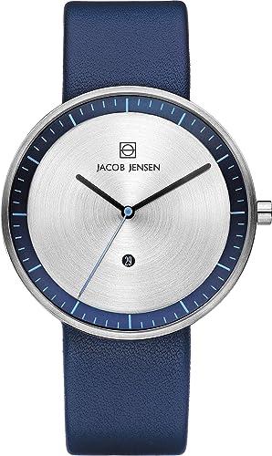 b15a7447b5bd Jacob Jensen Analogue Quartz Leather Strap Strata Mens Blue Watch 272   Amazon.co.uk  Watches