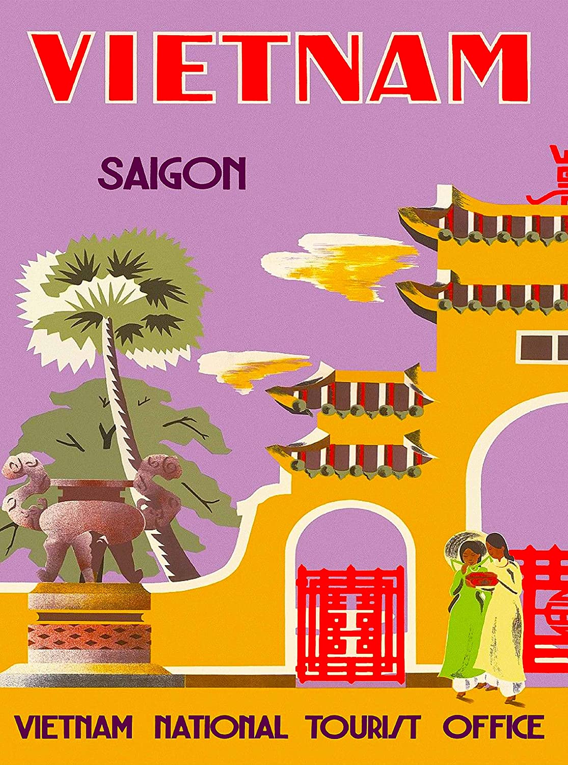 A SLICE IN TIME Vietnam - Saigon (Ho Chi Minh City) - Vietnam National Tourist Office - Vintage Travel Art Home Collectible Wall Decor Poster Print. 10 x 13.5 inches