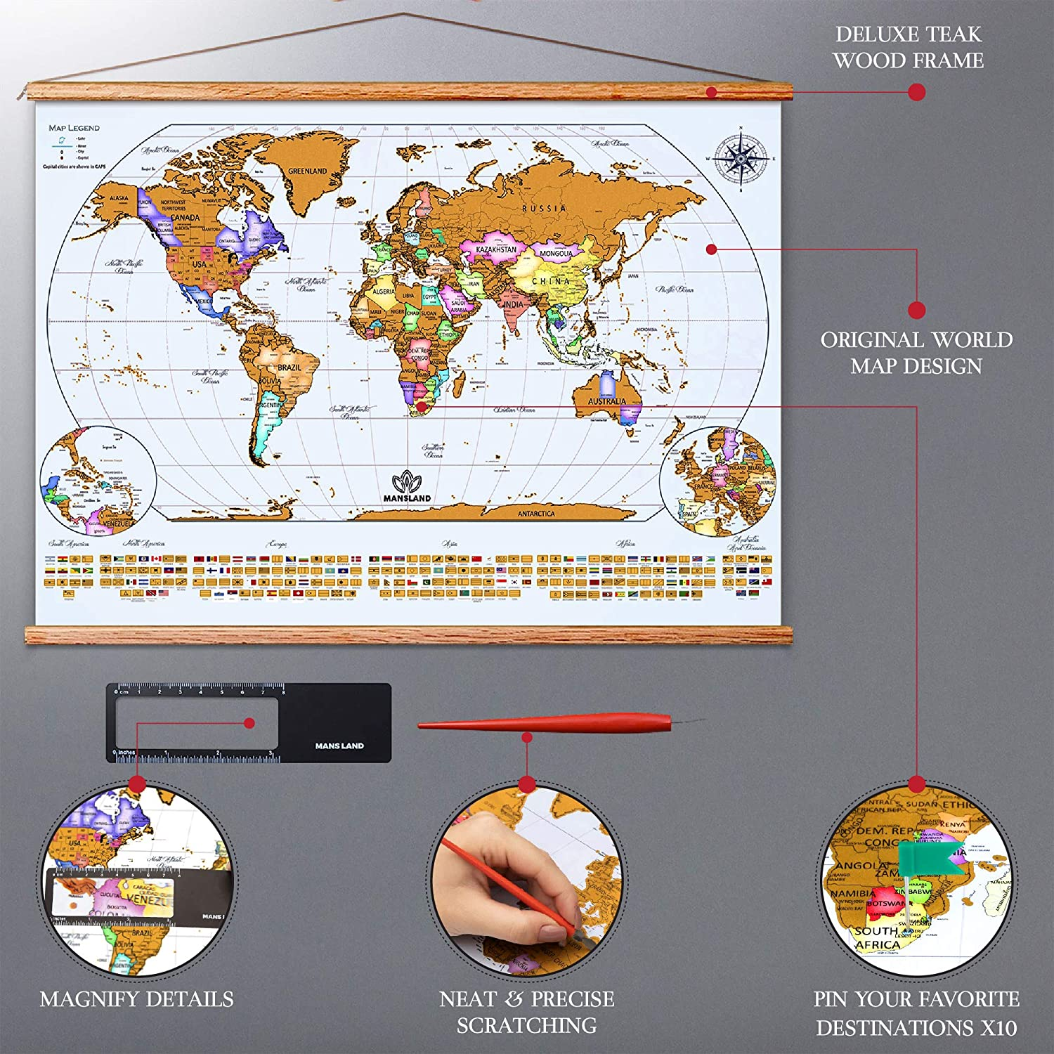 Mansland Scratch The World Travel Map Includes Teak Wood Frame Scratch Off World Map Poster Premium Wall Art Gifts for Travelers Complete Accessories Set /& All Country Flags