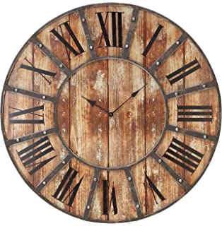 Deco 79 69211 Round Metal Wood Clock, 24-Inch