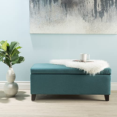 Christopher Knight Home Living Atlantic Dark Teal Fabric Storage Ottoman,