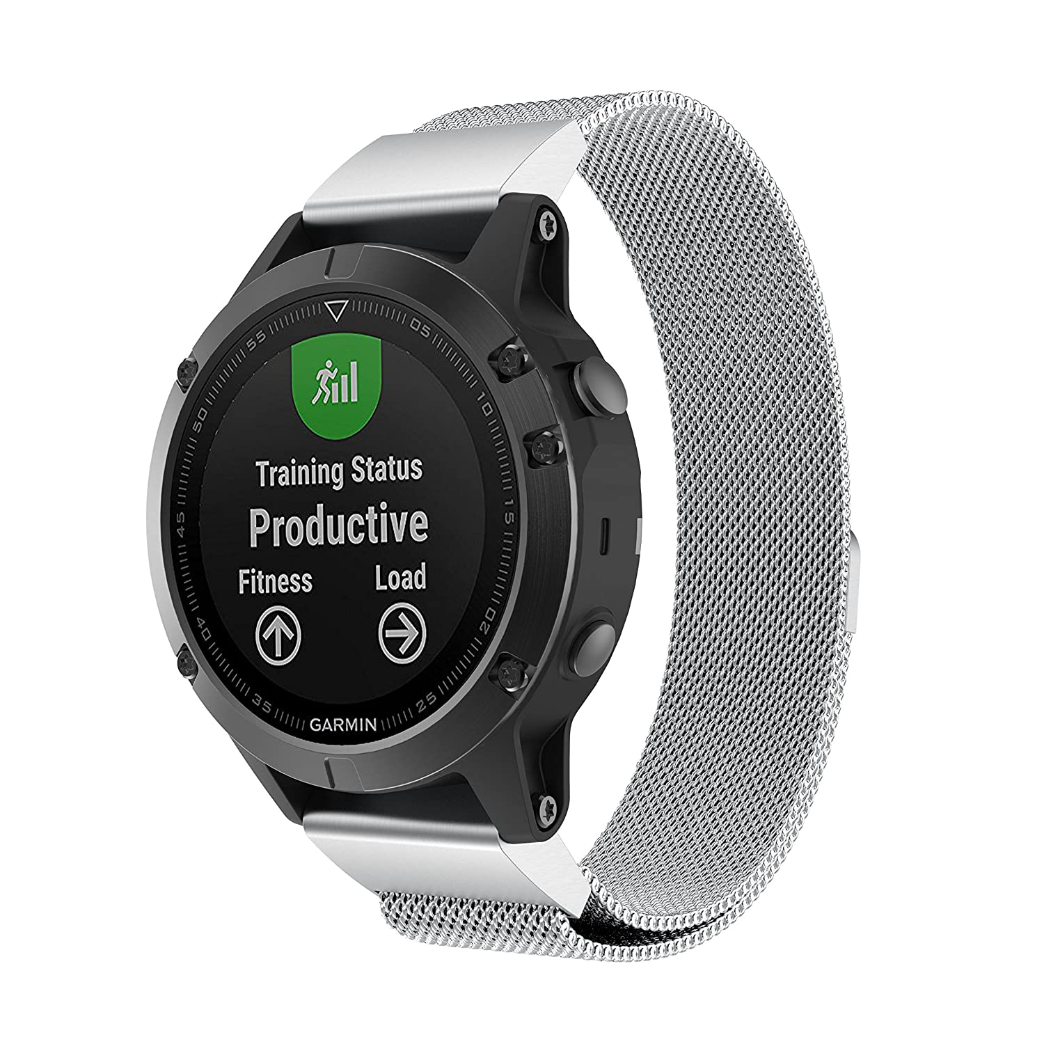 22mm Width Band Compatible Garmin Instinct//Garmin Fenix 5 NOT Compatible Fenix 5X//5S Aresh Compatible Garmin Instinct//Garmin Fenix 5 Quick Fit Band Milanese Metal Band Milanese-Silver
