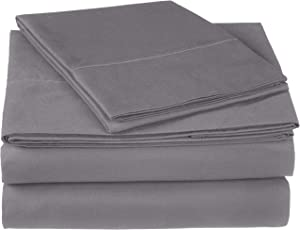 Pinzon 300 Thread Count Ultra Soft Cotton Bed Sheet Set, Twin, Graphite Grey