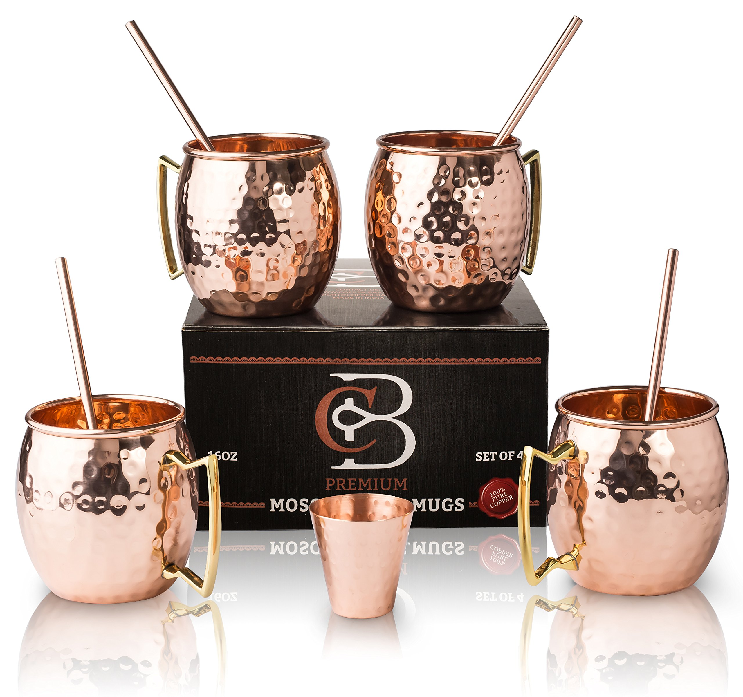 Moscow Mule Mugs 100% Solid Copper, Hammered, Gift Set of 4, No Nickel - Food Safe, 16oz, BONUS: 4 Straws + 1 Shot Glass & 2 E-Books by Copper-Bar by Copper-Bar (Image #1)
