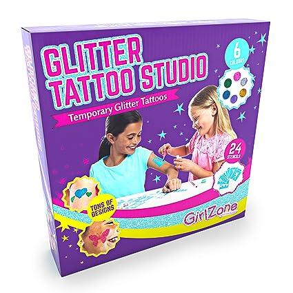 GirlZone Regalos para Niñas |Tatuajes Purpurina |Kit De Tatuajes Temporales con Brillantina para Niñas |Tatuajes Temporales |Tattoos con Purpurina 3 a ...