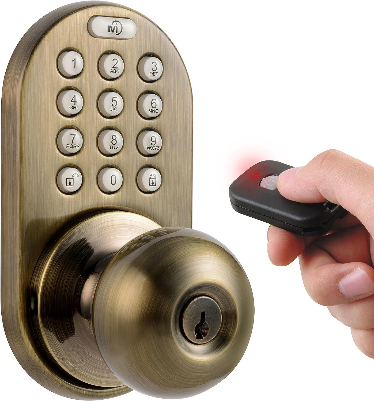 MiLocks XKK-02AQ Digital Door Knob Lock with Keyless Entry via Remote Control and Keypad Code for Interior Doors
