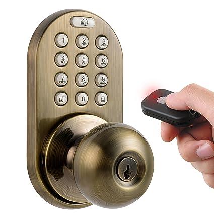 MiLocks XKK 02AQ Digital Door Knob Lock With Keyless Entry Via Remote  Control And Keypad