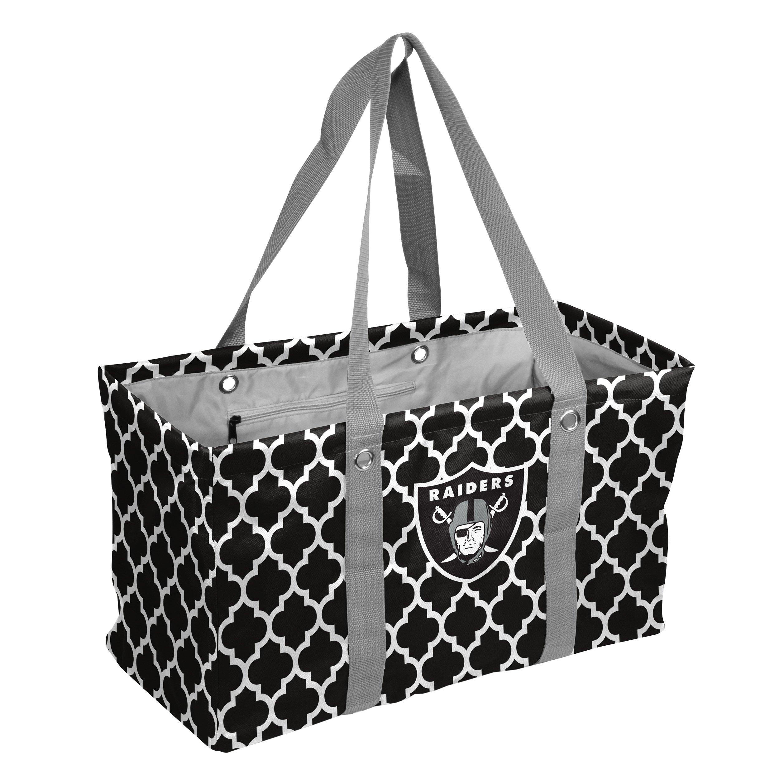 Logo Brands NFL Oakland Raiders Picnic Caddy Quatrefoil Caddy Tote, One Size, Black