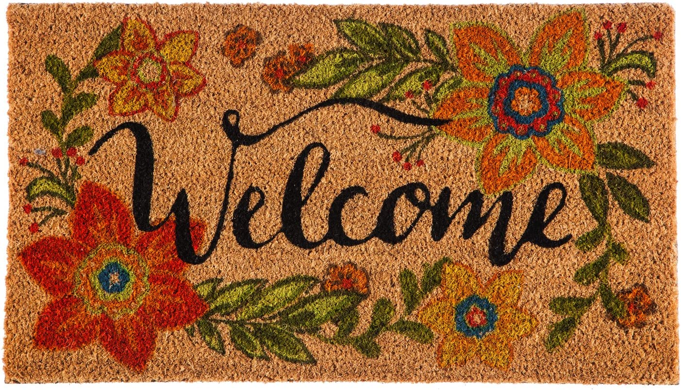 Evergreen Colorful Floral Welcome Natural Coconut Fiber Coir Floor Mat, 28 x 16 inches