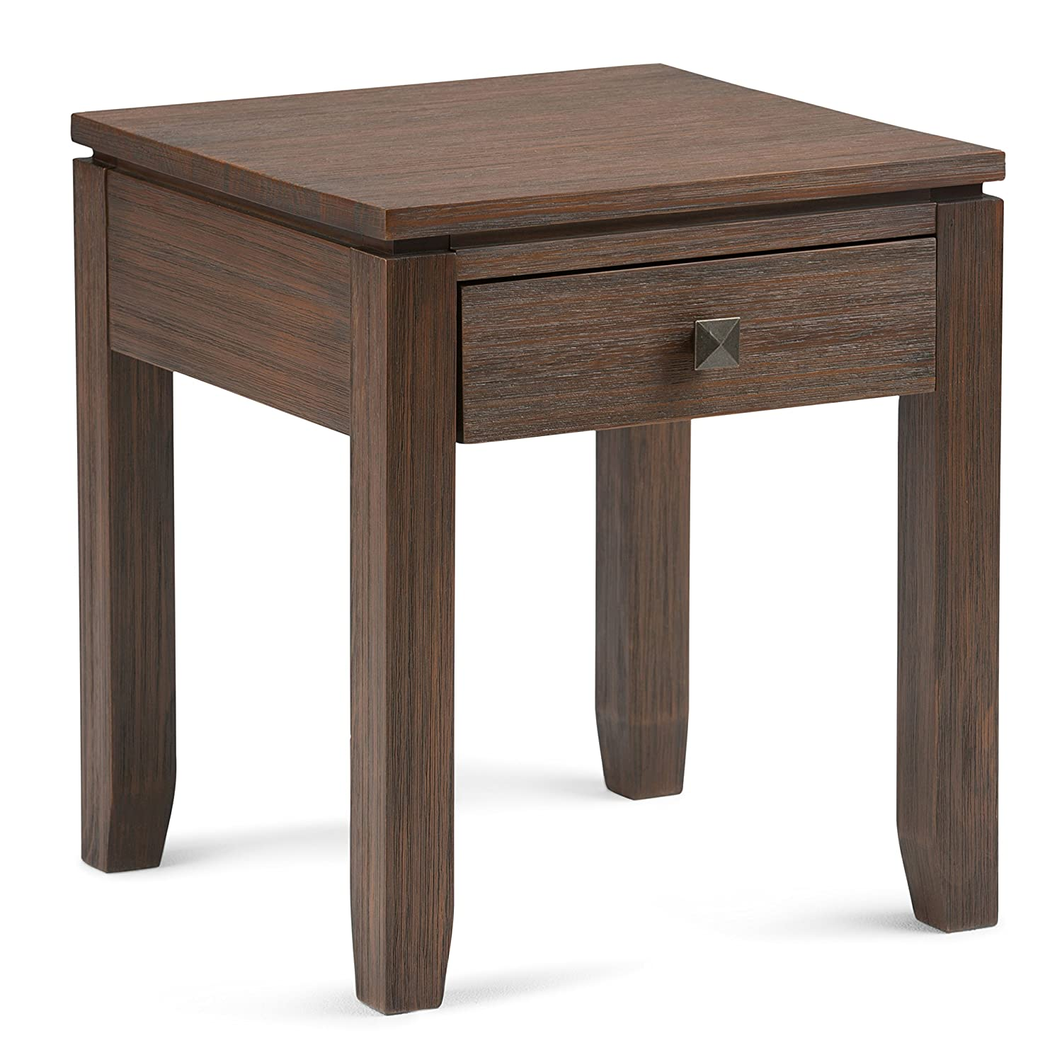 Simpli Home INT-AXCCOS-END-FB Cosmopolitan Solid Wood 18 inch Wide Square Contemporary End Side Table in Farmhouse Brown