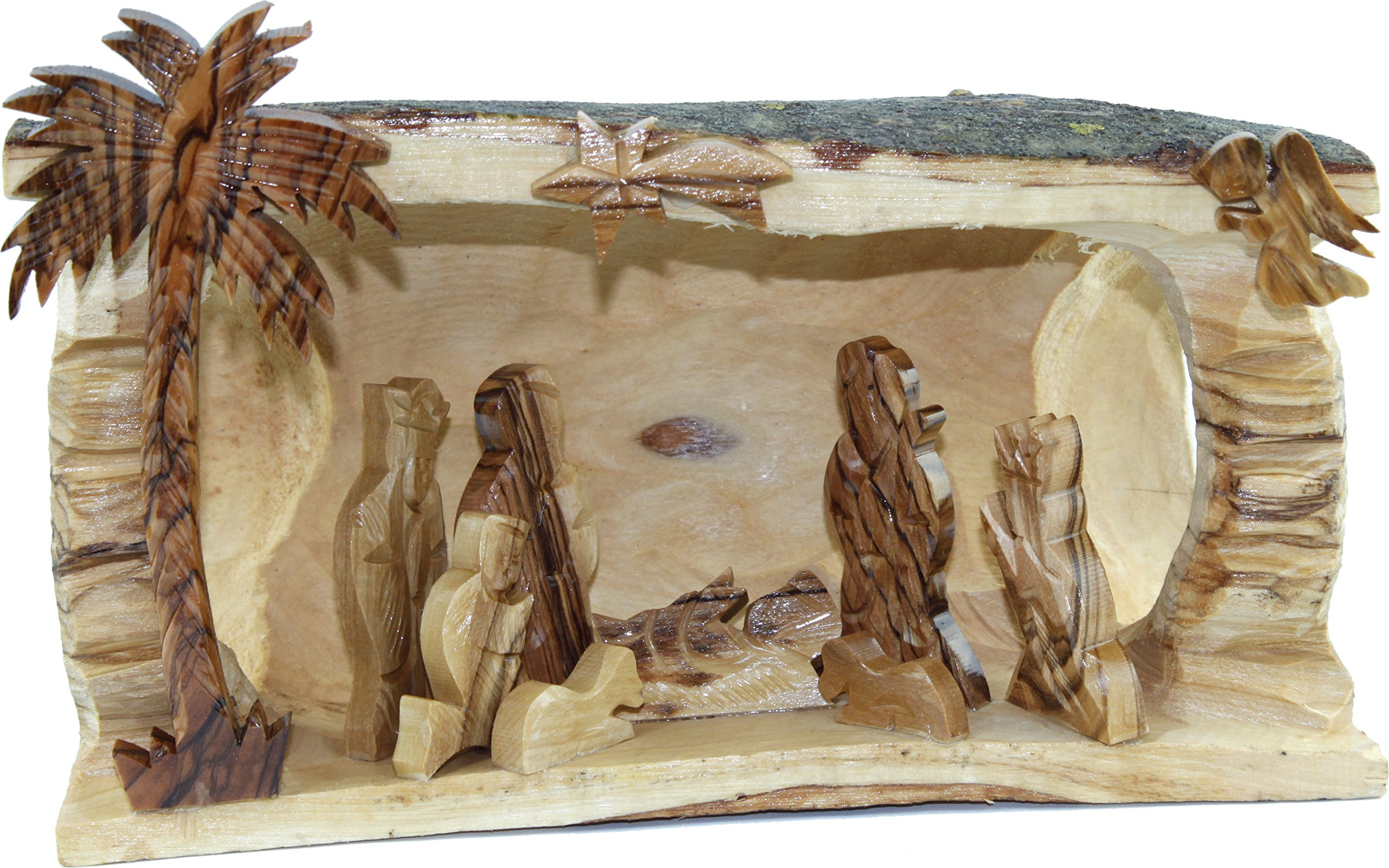 Holy Land Market Nativity - Olive Wood Large Log Nativity
