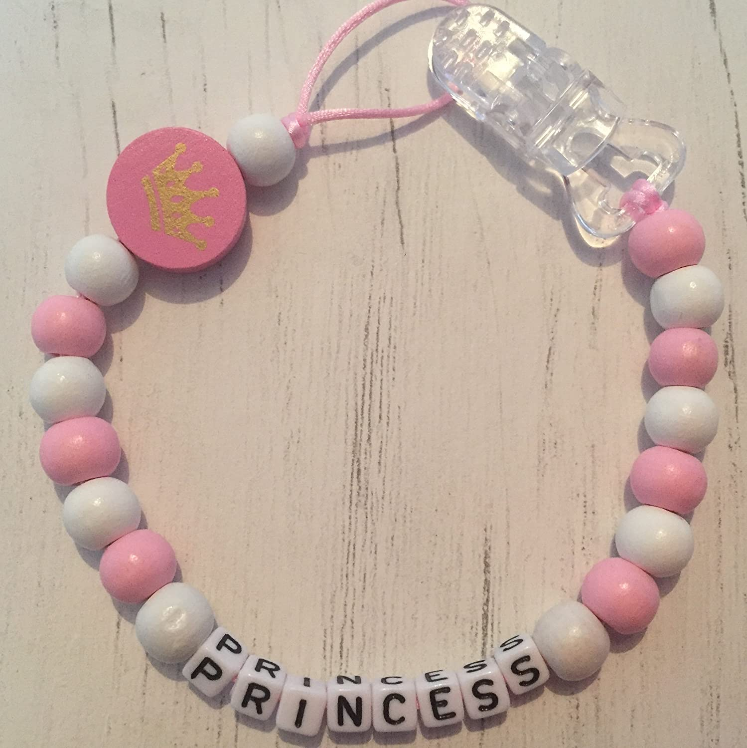 Personalised Baby Dummy Clip, Pacifier Holder, Soother Chain, Pink, White, Pink Crown, Handmade from The U.K. Peace & Quiet