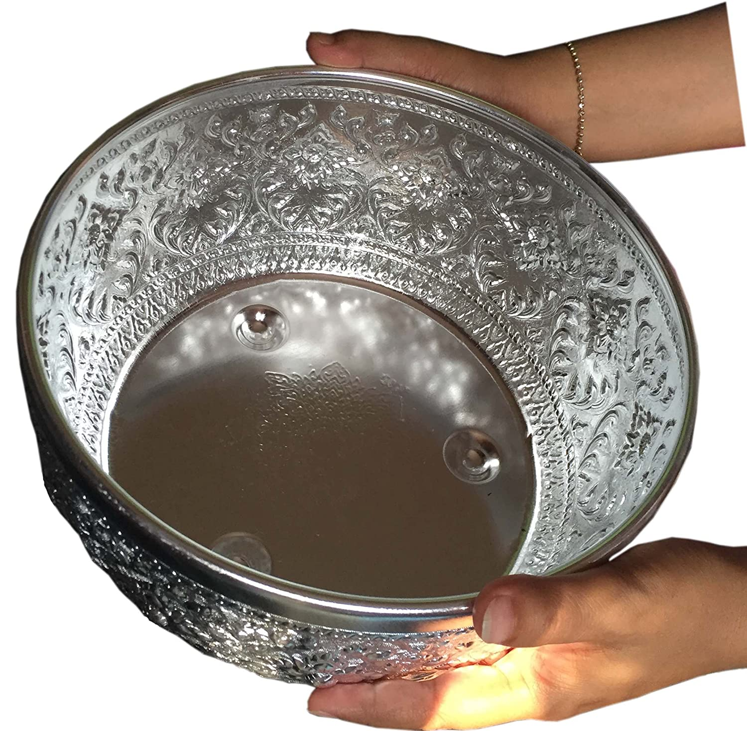Ni_On Aluminum water bowl Thai design silver sterling serving Diameter 10.5