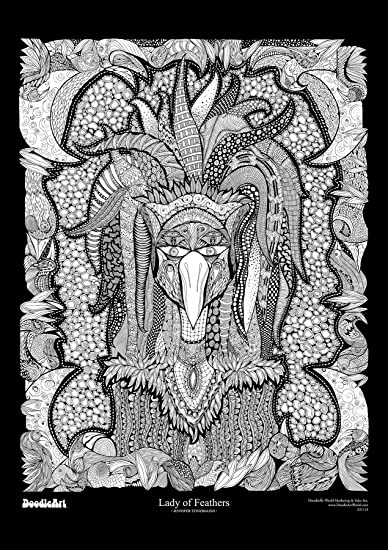 Buy The Original Doodle Art Lady of Feathers Adult Coloring Poster ...