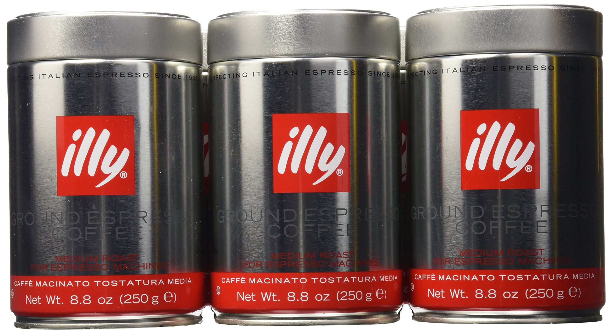 illy Caffe Normale Fine Grind (Medium Roast, Red Band) 8.8 coffee cans (Pack of 6) by Illy