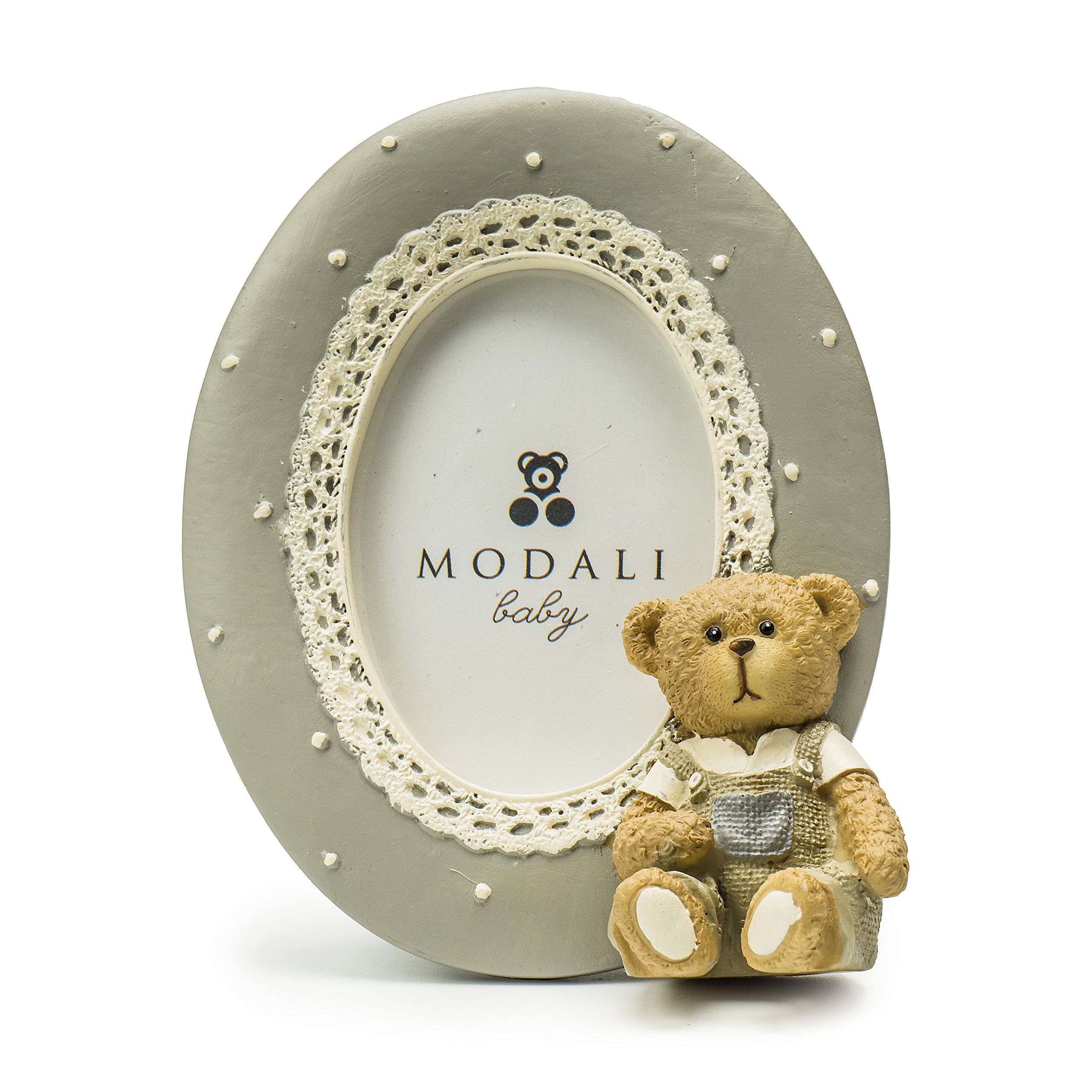 Modali Baby Fine & Elegant Handpainted Baby Photo Frame 3x3'' with Teddy Boy Bear