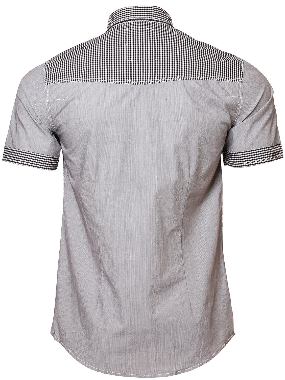 Resistance Mens Pin Stripe Check Shirt Short Sleeve Cotton