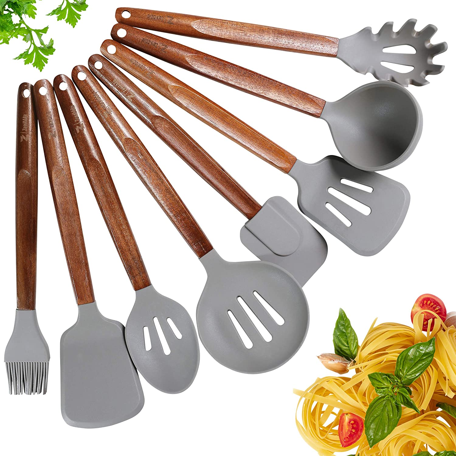 Zenibble Handmade Acacia Wood and Silicone Cooking Utensil Set of 8 - Non-stick Scratch Free BPA Free - Heat Resistant Spatulas, Turners & Serving Spoons with Natural Wooden Handles for Home Kitchen