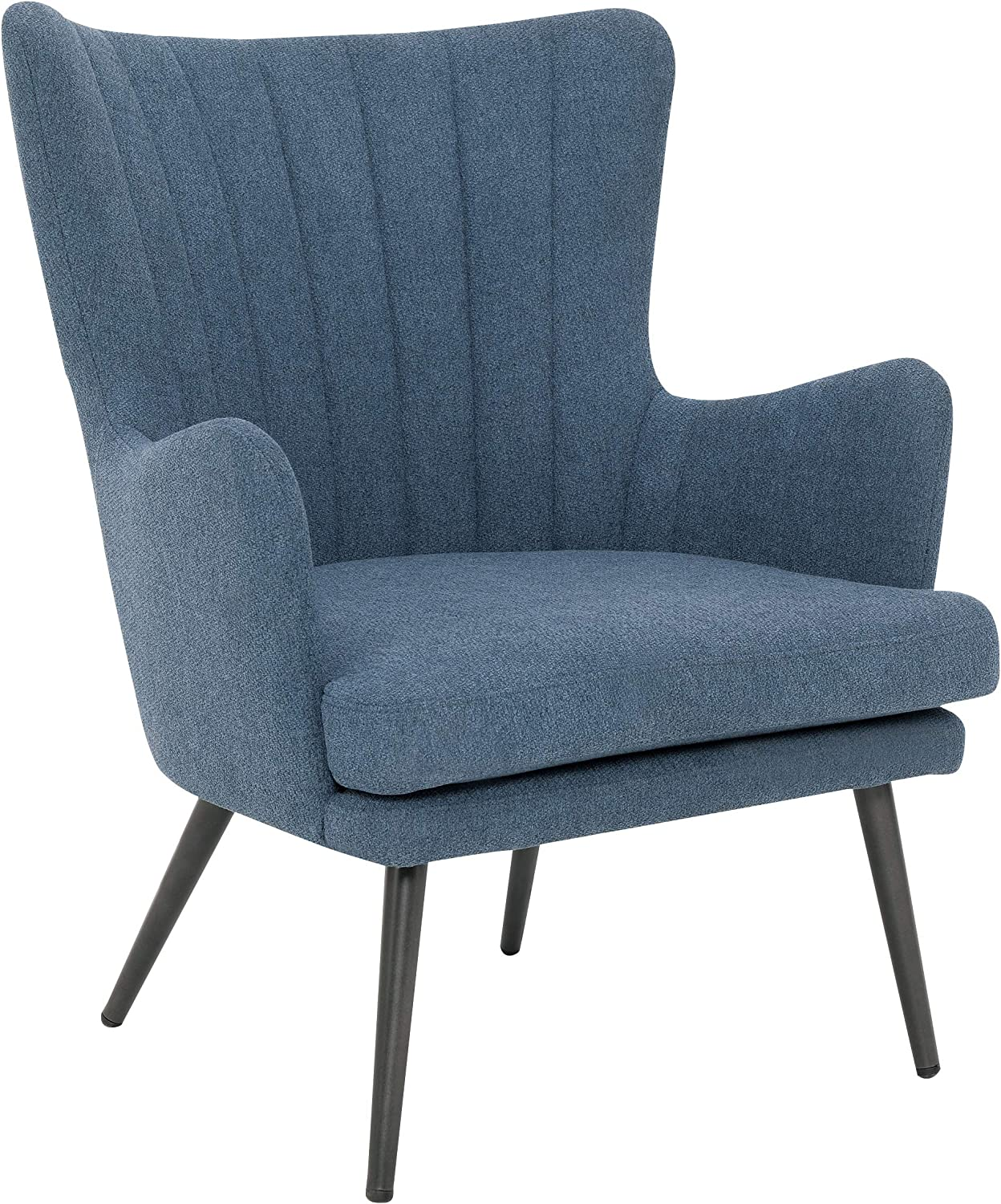 OSP Home Furnishings Jenson Mid-Century Modern Accent Arm Chair, Blue Fabric