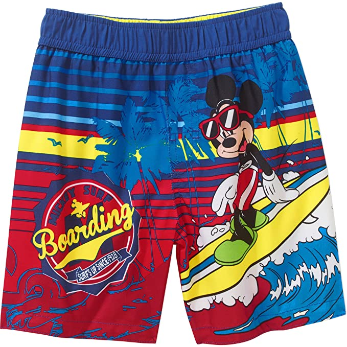 ab0ce1b1f9 Amazon.com: Disney Little Boys' Mickey Mouse Swim Trunks Swimwear ...