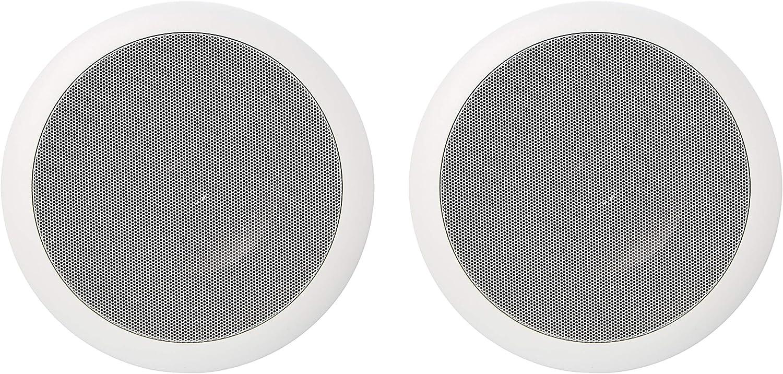 AmazonBasics – Altavoces redondos empotrables en pared o techo de 16,5 cm (pareja)
