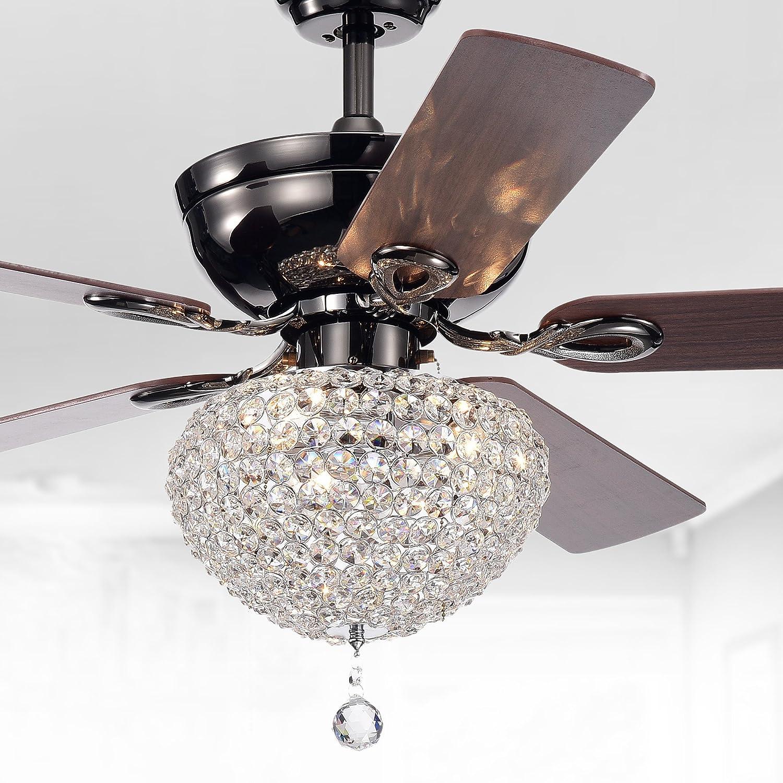 Warehouse of tiffany cfl 8176ch taliko ceiling fan 52 inch 3 light black metal housing crystal shade basket silver amazon com