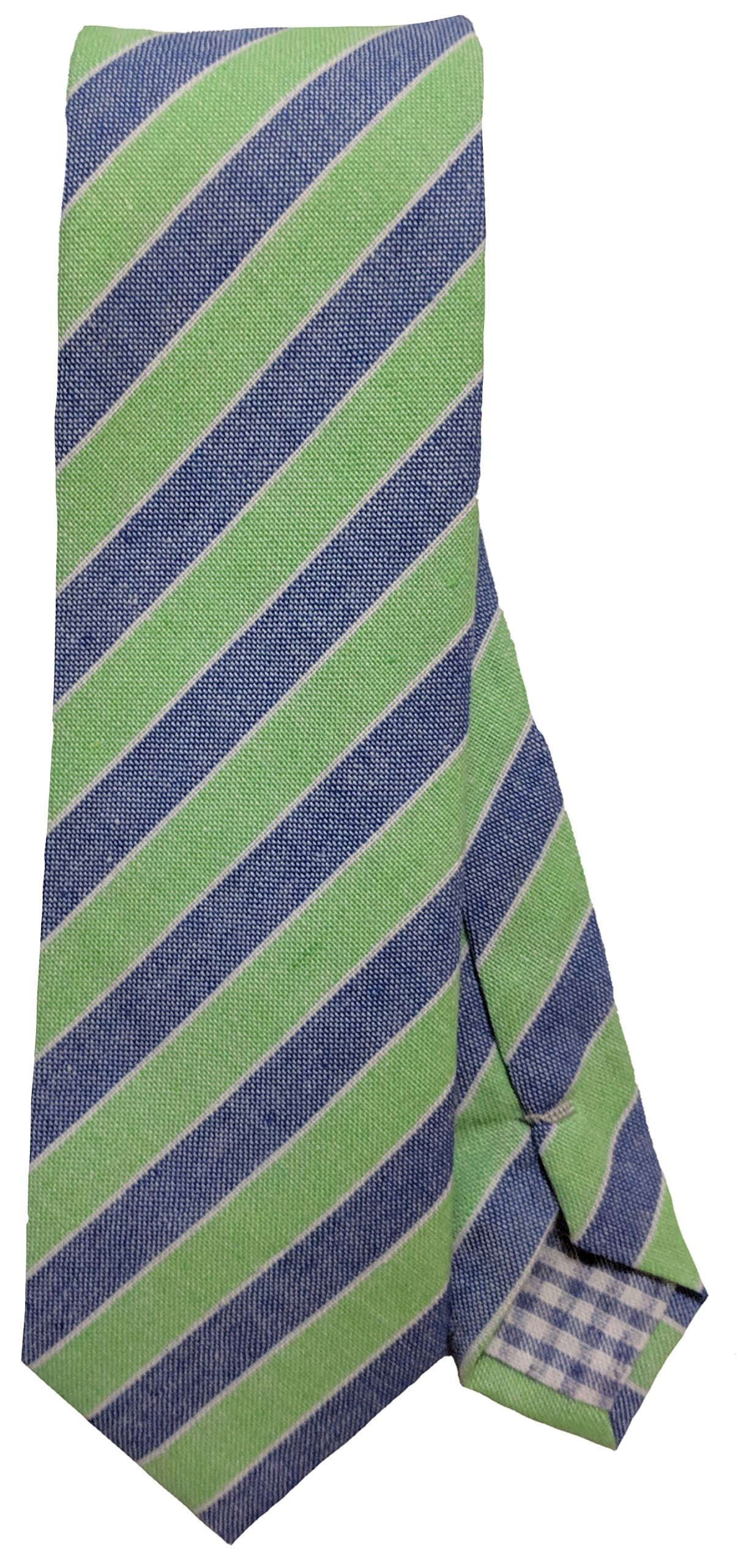 Men's Striped Linen Skinny Tie 2.5'' Business or Casual Multiple Colors (Green/Blue)