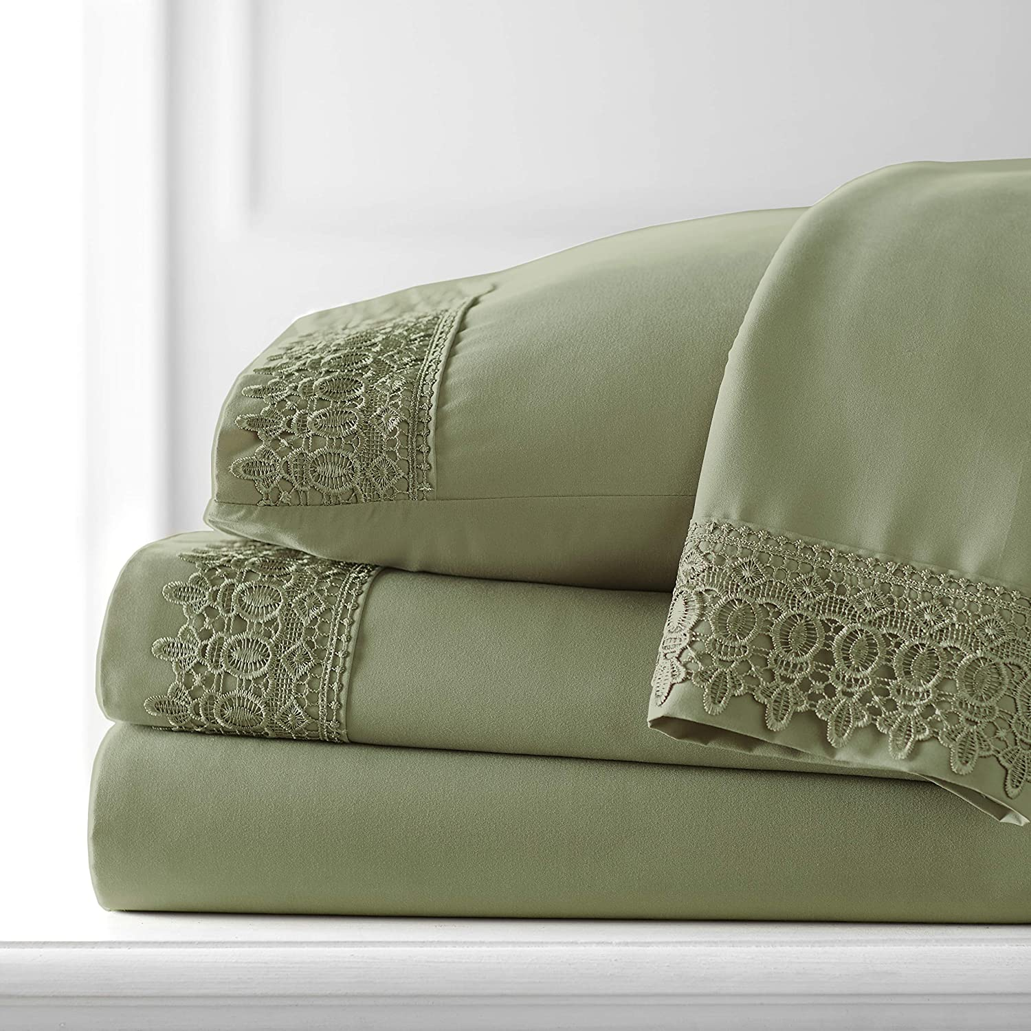 Southshore Fine Living, Inc. Vilano Lace - 21 Inch Deep Pocket Bed Sheet Set, Wrinkle, Fade, & Stain Resistant, Hypoallergenic, Ultra-Soft 4 Piece Set, Sage Green, Queen