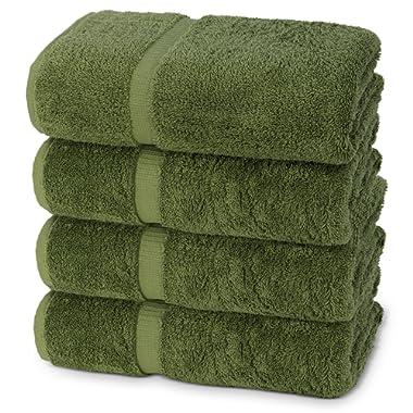 Indulge Linen Dobby Border Towel Sets (Safari Green, Bath Towels - Set of 4)