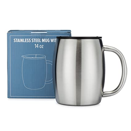 27a1724733a Stainless Steel Coffee Mug with Lid - 14 Oz Double Walled Insulated Coffee  Beer Mugs -