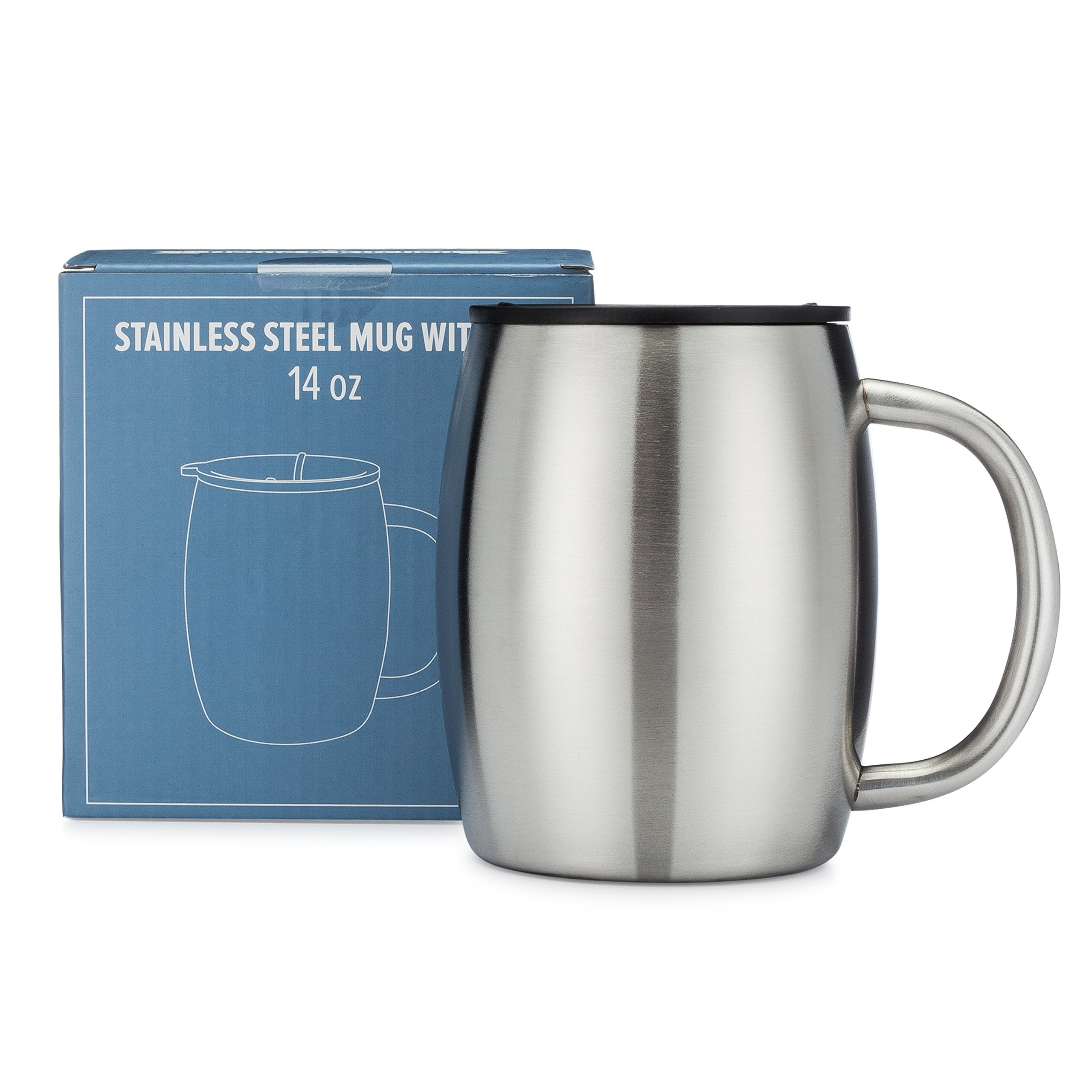 Stainless Steel Coffee Mug with Lid - 14 Oz Double Walled Insulated Coffee Mug - By Avito - Best Value - BPA Free Healthy Choice - Shatterproof and Spill Resistant by Avito (Image #1)