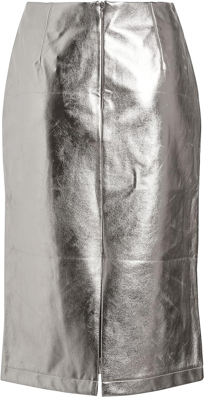 next Mujer Falda De Tubo De Efecto Piel Plateado EU 50 (UK 22 ...