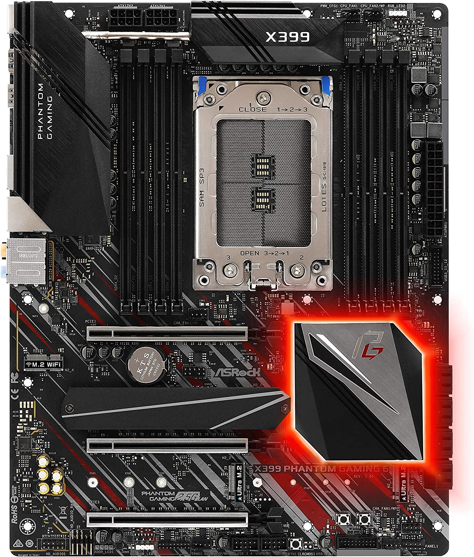 ASROCK Socket TR4AMD X399, with Chips ATX Gaming Motherboard X399Phantom Gaming 6