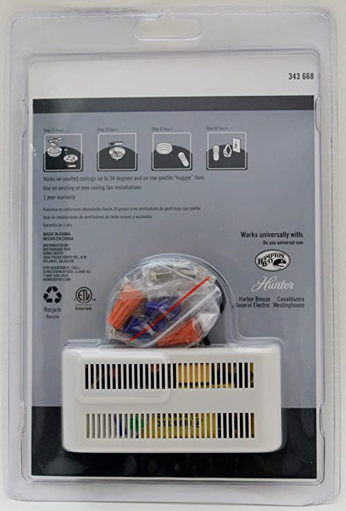 hunter universal 3 speed ceiling fan control 99110  hunter wiring diagram part k243101000 #13