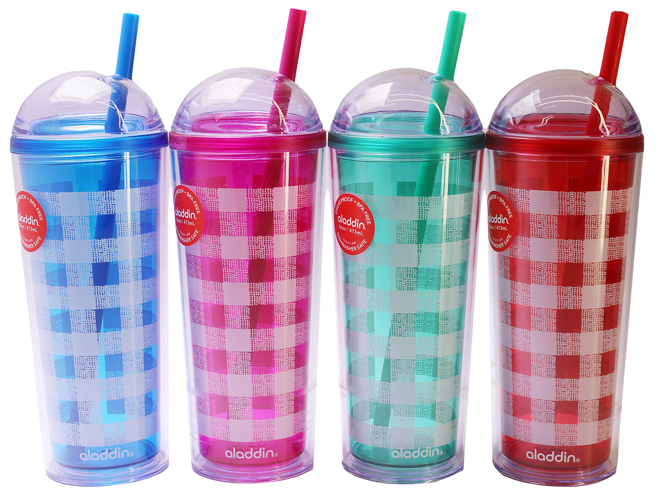 Aladdin Fountain Tumblers, Assorted Colors, 16 Ounce (Pack of 4)