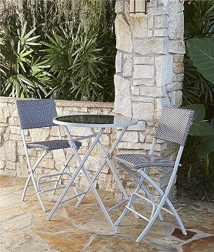 Enjoyable Cosco Outdoor High Top Bistro Set Folding 3 Piece Steel Frame With Navy And Gray Wicker Customarchery Wood Chair Design Ideas Customarcherynet