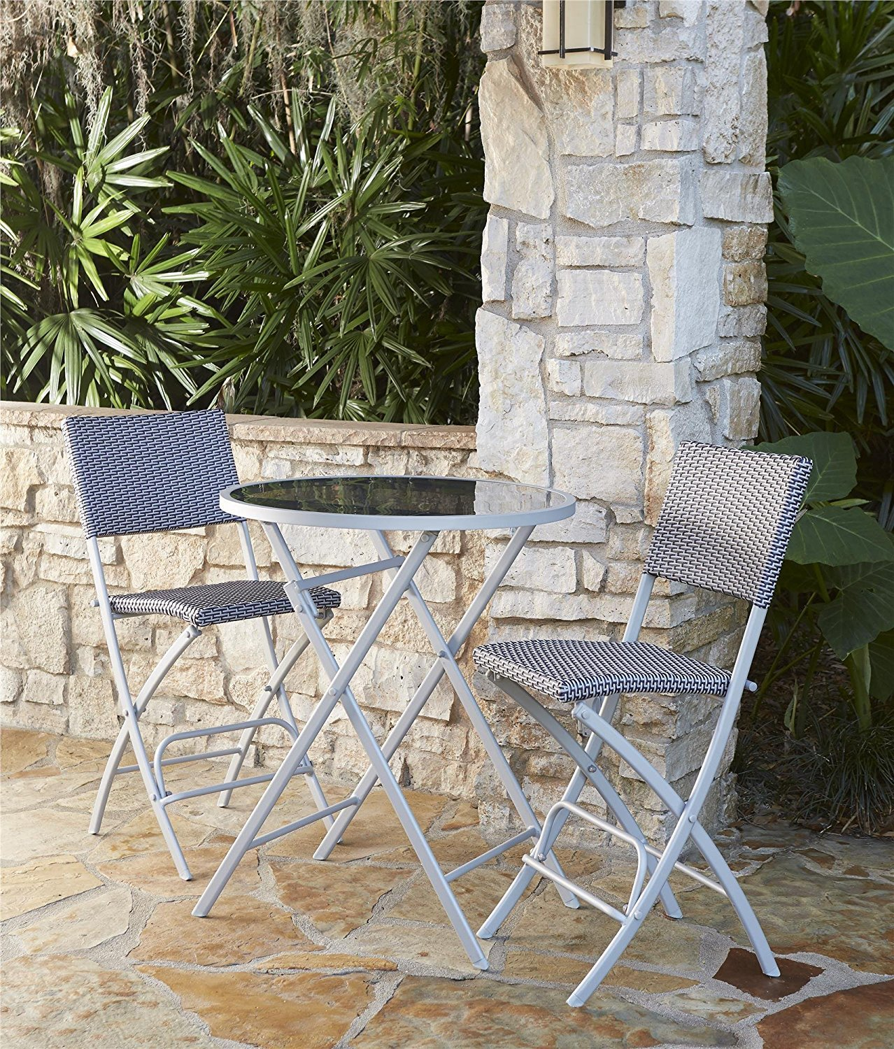 COSCO Outdoor Living Transitional 3 Piece Steel Woven Wicker Delray High Top Folding Patio Bistro Set, Blue and Gray Resin Wicker, Steel Frame