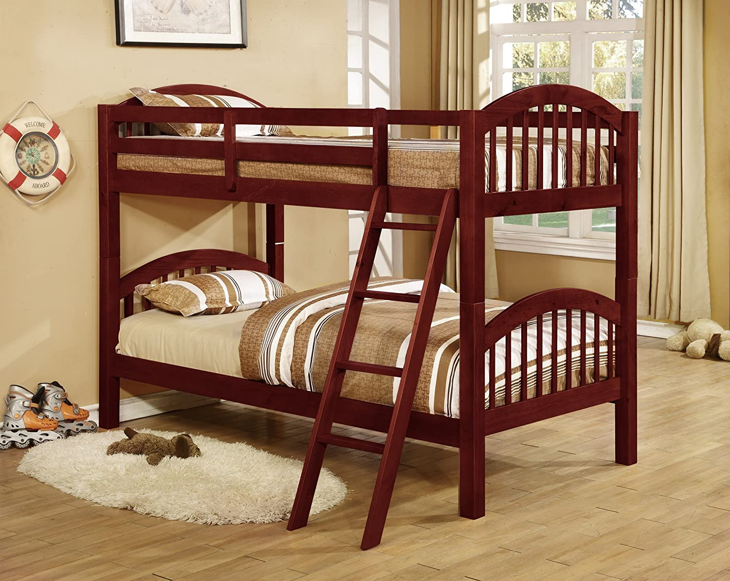 King S Brand B125c Wood Arched Design Convertible Bunk Bed Twin Cherry Finish Amazon Co Uk Kitchen Home