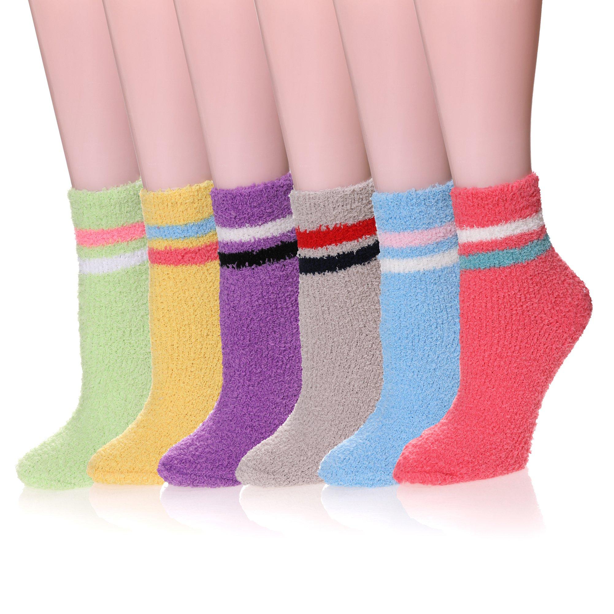 LINEMIN 6 Pack Women Cozy Fuzzy Slipper Crew Socks Super Soft Warm Home Sleeping Socks (6 Pack Stripe)